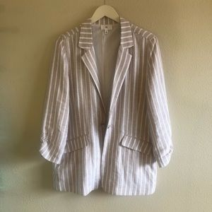 NWT White/Beige Striped BP Blazer